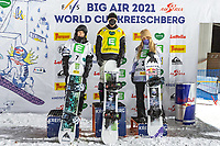 9th January 2021; Kreischberg, Murau, Austria. FIS World Cup Womens Snowboarding Big Air; 2nd placed Kokomo Murase of Japan winner Zoi Sadowski Synnott of New Zealand 3rd placed Anna Gasser of Austria during the winners ceremony