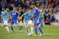 Ruben Loftus-Cheek, Chelsea watched by Samir Nasri..Manchester City defeated Chelsea 4-3 in an international friendly at Busch Stadium, St Louis, Missouri.