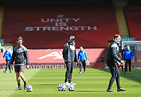 24th April 2021; Anfield, Liverpool, Merseyside, England; English Premier League Football, Liverpool versus Newcastle United; Liverpool manager Jurgen Klopp with his assistants Andreas Kornmeyer and Pepijn Lijnders