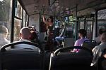 UKRAINE, Mariupol: Inside a Mariupol trolleybus that is one of public transport modes. The trolleybus operates in Mariupol since April 21, 1970. <br /> <br /> UKRAINE, Mariupol: A l'intérieur d'un trolleybus de Mariupol qui est l'un des modes de transport public de la ville. Le trolleybus fonctionne à Mariupol depuis le 21 Avril 1970.