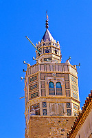 Testour, Tunisia.  Octagonal Minaret with a Clock, one of the few in the Islamic world.  17th. Century.  Note that the numbers on the clock go in counterclockwise order.
