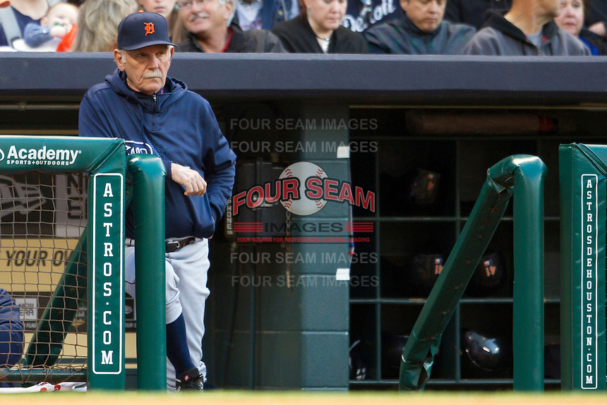 Detroit Tigers manager Jim Leyland in the dugout during the MLB baseball game against the Houston Astros on May 3, 2013 at Minute Maid Park in Houston, Texas. Detroit defeated Houston 4-3. (Andrew Woolley/Four Seam Images).