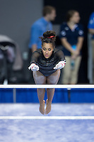 LOS ANGELES, CA - April 19, 2013:  Stanford's Ashley Morgan competes on bars during the NCAA Championships at UCLA.