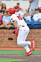 Johnson City Cardinals Zach Jackson (15) runs to first base during a game against the Kingsport Mets at TVA Credit Union Ballpark on June 28, 2019 in Johnson City, Tennessee. The Cardinals defeated the Mets 7-4. (Tony Farlow/Four Seam Images)