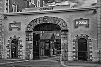 The Guinness Brewery entrance in Dublin showing the 1759 date though to this year (2012) in B&W.