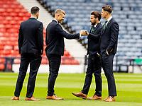 22nd May 2021; Hampden Park, Glasgow, Scotland; Scottish Cup Football Final, St Johnstone versus Hibernian;  Ryan Porteous of Hibernian and Kevin Dabrowski of Hibernian chat before kick off