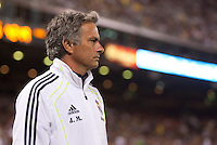 Jose Mourinho walks along the goal line. Real Madrid defeated Club America 3-2 at Candlestick Park in San Francisco, California on August 4th, 2010.