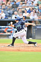 Asheville Tourists Cody Orr (5) swings at a pitch during a game against the Aberdeen IronBirds on June 19, 2021 at McCormick Field in Asheville, NC. (Tony Farlow/Four Seam Images)