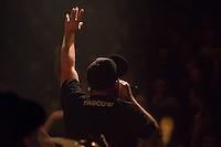 Die Hip-Hop-Gruppe Antilopen Gang aus Duesseldorf, Koeln und Berlin spielte am Samstag den 14. Maerz 2015 im ausverkauften Berliner Club SO36.<br /> Die Band besteht aus den Rappern Koljah Kolerikah, Panik Panzer (im Bild) und Danger Dan und steht beim Toten Hosen-Label JKP unter Vertrag.<br /> 14.3.2015, Berlin<br /> Copyright: Christian-Ditsch.de<br /> [Inhaltsveraendernde Manipulation des Fotos nur nach ausdruecklicher Genehmigung des Fotografen. Vereinbarungen ueber Abtretung von Persoenlichkeitsrechten/Model Release der abgebildeten Person/Personen liegen nicht vor. NO MODEL RELEASE! Nur fuer Redaktionelle Zwecke. Don't publish without copyright Christian-Ditsch.de, Veroeffentlichung nur mit Fotografennennung, sowie gegen Honorar, MwSt. und Beleg. Konto: I N G - D i B a, IBAN DE58500105175400192269, BIC INGDDEFFXXX, Kontakt: post@christian-ditsch.de<br /> Bei der Bearbeitung der Dateiinformationen darf die Urheberkennzeichnung in den EXIF- und  IPTC-Daten nicht entfernt werden, diese sind in digitalen Medien nach §95c UrhG rechtlich geschuetzt. Der Urhebervermerk wird gemaess §13 UrhG verlangt.]