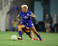 Orlando, Florida - Sunday, May 14, 2016: Orlando Pride midfielder Lianne Sanderson (10) turns away from pressure during a National Women's Soccer League match between Orlando Pride and New York Flash at Camping World Stadium.