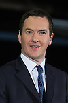 © Joel Goodman - 07973 332324 .  08/01/2015 . Manchester , UK . GEORGE OSBORNE . The British Prime Minister , David Cameron , and the Chancellor of the Exchequer , George Osborne , deliver speeches on the economy and on the economic development and devolution of powers to the North West of England at the Old Granada Studios , Quay Street , Manchester . Photo credit : Joel Goodman