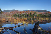 Guinea Pond in the Sandwich Range Wilderness of New Hampshire during the autumn months. This pond is located along the old Beebe River Railroad which was a logging railroad in operation from 1917 - 1942.