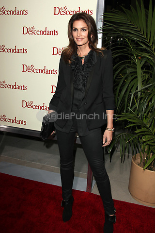 Cindy Crawford at the Los Angeles Premiere of 'The Descendants' at AMPAS Samuel Goldwyn Theater on November 15, 2011 in Beverly Hills, California ©mpi21/MediaPunch Inc.