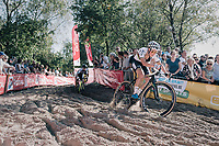 CX world champion Sanne Cant (BEL/Iko-Beobank) in the infamous Zonhoven 'Kuil' (or 'Pit')<br /> <br /> Elite Women's Race<br /> CX Super Prestige Zonhoven 2017