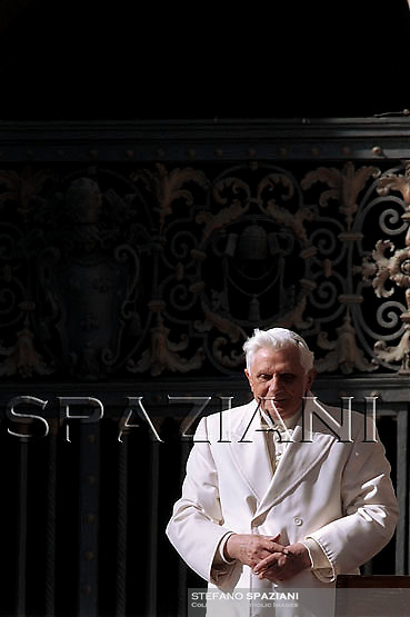 Pope Benedict XVI, during the weekly general audience in St. Peter's Square at the Vatican, Wednesday, Feb. 18, 2009