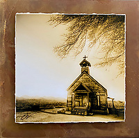 """Lonesome Chapel - Mixed Media - Arizona<br /> <br /> Each unique piece is made to order. If I have the piece in stock I can ship it in 2-3 days. If I don't have it in stock and it has to be made, it will ship in 1-2 weeks. Feel free to contact me at chey.rouse@gmail.com before you order if you need the piece ASAP. <br /> <br /> The photograph is printed on a Silk photo paper, the edges of the photo are torn, photo is mounted to foam board, then I mount it to an 8""""x8"""" piece of rusted metal. The rust is unique on each piece...no two pieces are alike. PLEASE keep in mind that the rust on the piece(s) you receive may be slightly different than the photo. Each piece of metal is sealed after it is done """"rusting"""" and is titled, hand signed and, ready to hang. To see the detail for theses Mixed Media pieces please click on the 1st photo in this gallery. You will be able to see the detail of the torn paper edge as well as the back of the piece. Just click on the piece that you like in this Gallery and then click the GREEN """"BUY"""" button in the left hand corner to add it to your cart."""