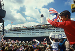 Queen Elizabeth 2 QE2 returns from the Falklands War. Family and friends greet them on their return Southampton Dock Hampshire Uk June 11 1982. .