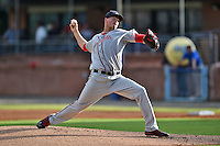 Greenville Drive starting pitcher Jamie Callahan #23 delivers a pitch during a game against the Asheville Tourists at McCormick Field June 24, 2014 in Asheville, North Carolina. The Tourists defeated the Drive 5-4. (Tony Farlow/Four Seam Images)