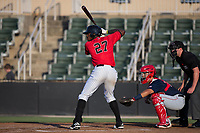 Micker Adolfo (27) of the Kannapolis Intimidators at bat against the Hagerstown Suns at Kannapolis Intimidators Stadium on June 15, 2017 in Kannapolis, North Carolina.  The Intimidators defeated the Suns 9-1 in game two of a double-header.  (Brian Westerholt/Four Seam Images)