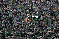 OAKLAND, CA - SEPTEMBER 30:  Oakland Athletics team photographer Michael Zagaris works against the Chicago White Sox during Wild Card Round Game Two at the Oakland Coliseum on Wednesday, September 30, 2020 in Oakland, California. (Photo by Brad Mangin)