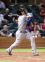 Mesa Solar Sox shortstop Javier Baez #6, of the Chicago Cubs organization, hits a home run during an Arizona Fall League game against the Salt River Rafters at Salt River Fields at Talking Stick on October 9, 2012 in Scottsdale, Arizona.  Salt River defeated Mesa 6-5.  (Mike Janes/Four Seam Images)