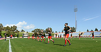 20180228 - LARNACA , CYPRUS :  Belgian team pictured during warming up of the women's soccer game between The Belgian Red Flames and the Czech Republic , on wednesday 28 February 2018 at GSZ Stadium in Larnaca , Cyprus . This is the first game in group B for Belgium during the Cyprus Womens Cup , a prestigious women soccer tournament as a preparation on the World Cup 2019 qualification duels. PHOTO SPORTPIX.BE   DAVID CATRY