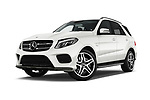 Stock pictures of low aggressive front three quarter view of 2018 Mercedes Benz GLE AMG-43 5 Door SUV Low Aggressive