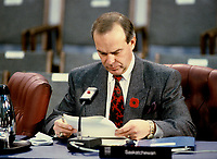 Montreal (Qc) Canada -File Photo - ca 1987 - Grant Devine, 11th Premier of the Canadian province of Saskatchewan from May 8, 1982 to November 1, 1991 at the annual Conference of Premiers in Ottawa<br /> <br /> Photo : Pierre Roussel