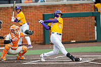 LSU Tigers pinch hitter Brody Drost (10) at bat against the Tennessee Volunteers on Robert M. Lindsay Field at Lindsey Nelson Stadium on March 28, 2021, in Knoxville, Tennessee. (Danny Parker/Four Seam Images)
