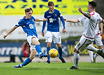 St Johnstone v Brechin….24.07.19      McDiarmid Park     Betfred Cup       <br />Jordan Northcott is tackled by Ross Brown<br />Picture by Graeme Hart. <br />Copyright Perthshire Picture Agency<br />Tel: 01738 623350  Mobile: 07990 594431