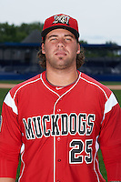 Batavia Muckdogs pitcher Ryan Hafner (25) poses for a photo on July 8, 2015 at Dwyer Stadium in Batavia, New York.  (Mike Janes/Four Seam Images)