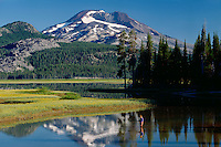 Fly fishing<br /> Sparks Lake and South Sister<br /> Deschutes National Forest<br /> Cascade Range,  Oregon