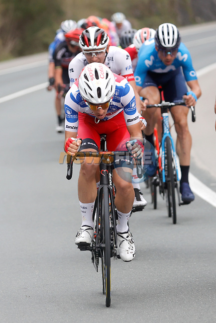 Polka Dot Jersey Guillaume Martin (FRA) Cofidis leads the 21 man breakaway group during Stage 12 of the Vuelta Espana 2020 running 109.4km from Pola de Laviana to Alto de l'Angliru, Spain. 1st November 2020..    <br /> Picture: Luis Angel Gomez/PhotoSportGomez | Cyclefile<br /> <br /> All photos usage must carry mandatory copyright credit (© Cyclefile | Luis Angel Gomez/PhotoSportGomez)