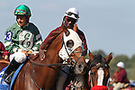 September 19, 2015. Roadhog, Paco Lopez up, joins the post parade for the $100,000. Alphabet Soup Handicap Stakes, one and 1/16 miles on the turf for registered PA breds three and upwards, at  Parx Racing in Bensalem, PA. (Joan Fairman Kanes/ESW/CSM)