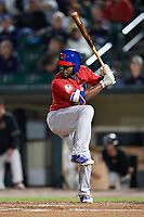 Buffalo Bisons pinch hitter Dwight Smith Jr. (2) at bat during a game against the Rochester Red Wings on August 25, 2017 at Frontier Field in Rochester, New York.  Buffalo defeated Rochester 2-1 in eleven innings.  (Mike Janes/Four Seam Images)