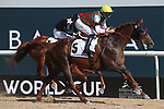March 27, 2021: DERYAN #5 ridden by Iortiz Mendizabal wins The Group 1 Kahayla Classic for Didier Guillemin on Dubai World Cup Day, Meydan Racecourse, Dubai, UAE. Shamela Hanley/Eclipse Sportswire/CSM
