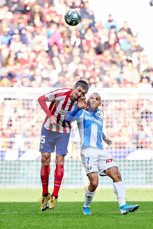 Stefan Savic of Atletico de Madrid and Martin Braithwaite of CD Leganes during La Liga match between Atletico de Madrid and CD Leganes at Wanda Metropolitano Stadium in Madrid, Spain. January 26, 2020. (ALTERPHOTOS/A. Perez Meca)