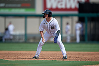 Detroit Tigers Daniel Cabrera (17) leads off during a Florida Instructional League game against the Pittsburgh Pirates on October 16, 2020 at Joker Marchant Stadium in Lakeland, Florida.  (Mike Janes/Four Seam Images)