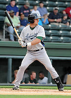 Catcher Mike Kvasnicka (7) of the Lexington Legends, a Houston Astros affiliate, in a game against the Greenville Drive on May 3, 2012, at Fluor Field at the West End in Greenville, South Carolina. Kvasnicka is the No. 25 prospect for the Astros, according to Baseball America. (Tom Priddy/Four Seam Images)