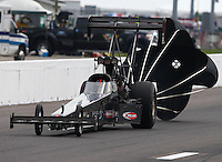 Sep 28, 2013; Madison, IL, USA; NHRA top fuel dragster driver Cory McClenathan during qualifying for the Midwest Nationals at Gateway Motorsports Park. Mandatory Credit: Mark J. Rebilas-