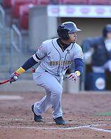 Burlington Bees second baseman Gleyvin Pineda (8) swings at a pitch against the Cedar Rapids Kernels at Veterans Memorial Stadium on April 13, 2019 in Cedar Rapids, Iowa.  Kernels won 2-1.  (Dennis Hubbard/Four Seam Images)