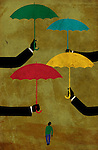 Conceptual illustration of confused man walking with hands sheltering with umbrella representing insurance options