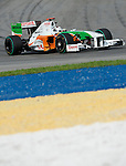 04 Apr 2009, Kuala Lumpur, Malaysia --- Force India F1 Team driver Adrian Sutil of Germany steers his car during the third practice session ahead the 2009 Fia Formula One Malasyan Grand Prix at the Sepang circuit near Kuala Lumpur. Photo by Victor Fraile --- Image by © Victor Fraile / The Power of Sport Images