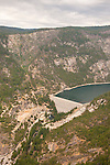 Salt Springs Dam, Reservoir and Powerhouse on the North Fork of the Mokelumne River from Calaveras Dome, Stanislaus National Forest, Calif...The North Fork of the Mokelumne River is the county line between Amador County and Calaveras County in the Sierra Nevada of central California
