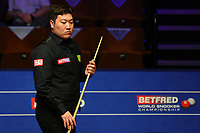24th April 2021; Crucible Theatre, Sheffield, England; Betfred Snooker World Championships; China's Yan Bingtao competes during the second round match with England's Shaun Murphy