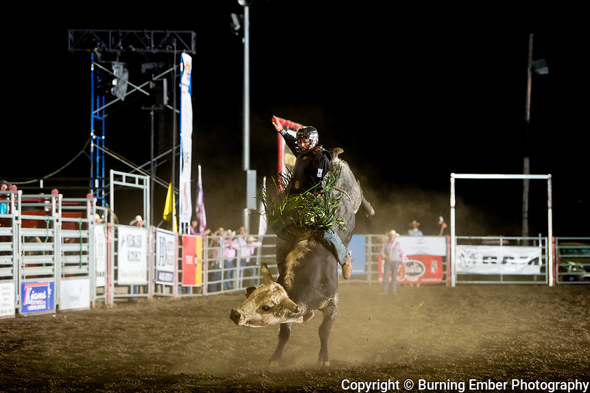Jordan Hansen on Kesler Bull Goosebumps at the Helena MT Last Chance Stampede 2nd perf July 26th 2019.  Photo by Josh Homer/Burning Ember Photography.  Photo credit must be given on all uses.