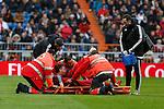 Real Sociedad´s Sergio Canales gets injured during La Liga match between Real Madrid and Real Sociedad at Santiago Bernabeu stadium in Madrid, Spain. December 30, 2015. (ALTERPHOTOS/Victor Blanco)
