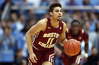 CHAPEL HILL, NC - FEBRUARY 1: Derryck Thornton #11 of Boston College brings the ball up the court during a game between Boston College and North Carolina at Dean E. Smith Center on February 1, 2020 in Chapel Hill, North Carolina.
