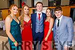 Clodagh O'Connor, Amy Pollman, PJ Curtin, Eve Credon and James Collins attending the Gaelcoláiste Chiarraí Debs in the Ballyroe Heights Hotel on Thursday night.