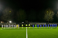 line up Charleroi ( forward Ylenia Carabott (7) , midfielder Ludmila Matavkova (9) , midfielder Ines Dhaou (5) , midfielder Yasaman Farmani (6) , forward Estelle Dessilly (13) , Renate Mehevets (15) , defender Madison Hudson (8) , defender Chrystal Lermusiaux (2) , midfielder Megane Vos (20) , goalkeeper Ambre Collet (1) , defender Noemie Fourdin (11) ) , assistant referee Jordan Vandenborre , referee Pierre Tirone , assistant referee Alexandre Minnoy and Genk ( midfielder Sien Vandersanden (10) , goalkeeper Joséphine Delvaux (1) , forward Gwen Duijsters (13) , Fleur Pauwels (66) , defender Fleur Bienkens (23) , forward Lotte Van Den Steen (15) , defender Sterre Gielen (14) , forward Britt Labro (17) , Luna Vanhoudt (43) , midfielder Lorene Martin (6) , forward Hanne Merkelbach (25) ) pictured during a female soccer game between Sporting Charleroi and KRC Genk Ladies on the 9th matchday of the 2020 - 2021 season of Belgian Scooore Womens Super League , friday 11 th of December 2020  in Marcinelle , Belgium . PHOTO SPORTPIX.BE | SPP | STIJN AUDOOREN